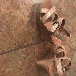 Ugg brand cork heeled shoes size 6